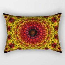 Fiery Fractal Mandala Rectangular Pillow