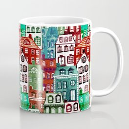 Christmas Village in Watercolor Red + Green Coffee Mug