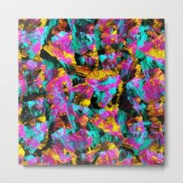 Artsy Modern Neon Colors Black Abstract Paint Art Metal Print