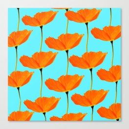 Poppies On A Turquoise Background #decor #society6 #buyart Canvas Print
