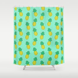 Pineapples (Aqua Background) Shower Curtain