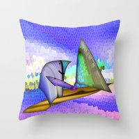 sailing Throw Pillows featuring Sailing by Digital-Art