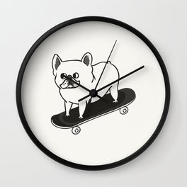 Skateboarding French Bulldog Wall Clock