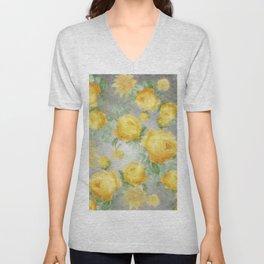 Big Botanical Roses Vintage Sunshine Yellow On Gray Stripes                    Gray Stripes Unisex V-Neck