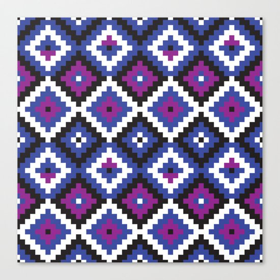 Aztec pattern - blue, purple, black, white Canvas Print