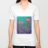 polka dot V-neck T-shirts featuring Polka Dot Jellyfish by Graphic Tabby