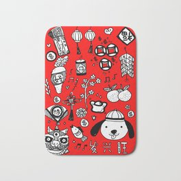 2018 Chinese New Year Doodles Bath Mat
