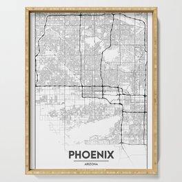 Minimal City Maps - Map Of Phoenix, Arizona, United States Serving Tray