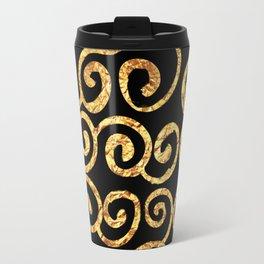Gold Swirls on Black Background Travel Mug