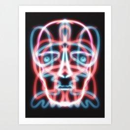 Neon Skull Dark Modern Pop Art Art Print