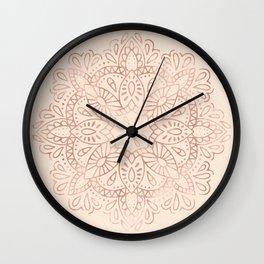 Mandala Rose Gold Pink Shimmer on Light Cream Wall Clock