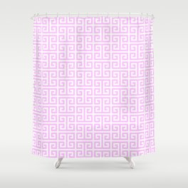 Pink and White Greek Key Pattern Shower Curtain