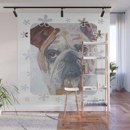American Bulldog Portrait Vector With Decorative Border Wall Mural
