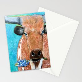Longhorn with Bluebonnet Stationery Cards