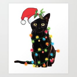 Santa Black Cat Tangled Up In Lights Christmas Santa T-Shirt Art Print
