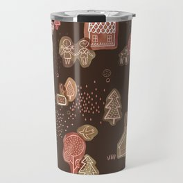 Hansel and Gretel Fairy Tale Gingerbread Pattern on Brown Travel Mug