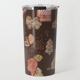 Hansel and Gretel Fairy Tale Gingerbread Pattern on Brown Travel Mug