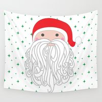 santa Wall Tapestries featuring Santa by Doucette Designs
