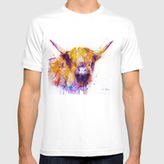 Highland Cow  LARGE White Mens Fitted Tee