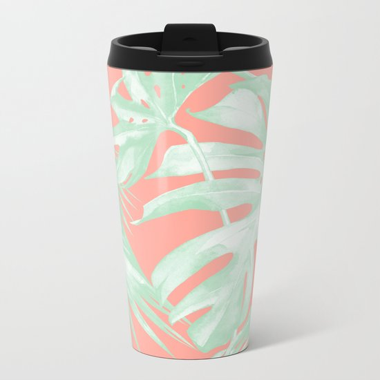 Island Love Coral Pink + Light Green Metal Travel Mug