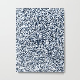 Tiny Spots - White and Oxford Blue Metal Print
