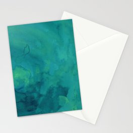 Watercolor green and blue Stationery Cards