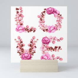 L-O-V-E in Pink Flowers Mini Art Print