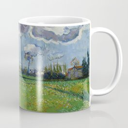 Meadow With Flowers Under a Stormy Sky Coffee Mug