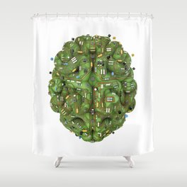 Circuit brain Shower Curtain