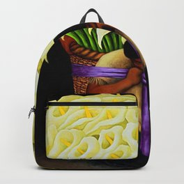 El Vendedor de Alcatraces (Lily Flower Seller with purple sash) by Diego Rivera Backpack