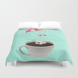 Sugar Cubes Jumping in a Cup of Coffee Duvet Cover