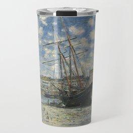 Claude Monet - Boats Lying at Low Tide at Facamp Travel Mug