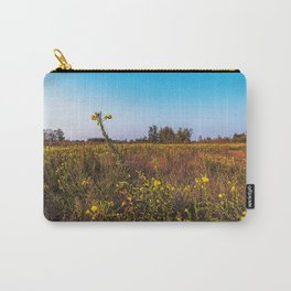 Fallow field in the Lomellina countryside at sunset full of yellow flowers Carry-All Pouch