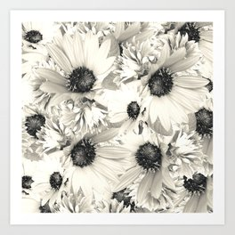 Ivory Moonlight Floral Art Print