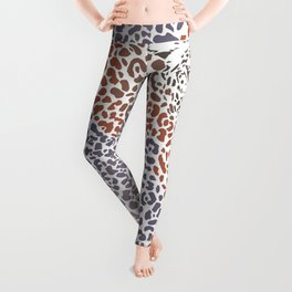 Pattern seampless leopard fur and face with map of Africa Leggings