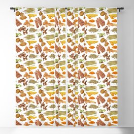 Watercolor Illustration of a set of spices Blackout Curtain