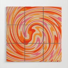 70s Retro Swirl Color Abstract Wood Wall Art