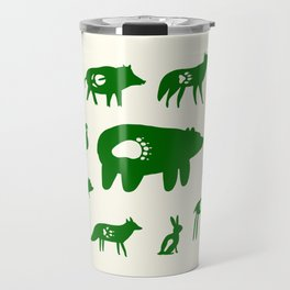 Nature Trail in Forest Green and Cream Travel Mug