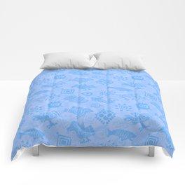 Polynesian Symbols in Mod Blue Comforters