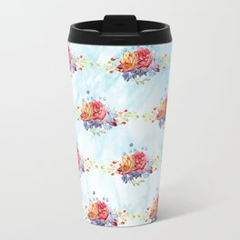 Colorful pink lavender watercolor succulent cactus flowers pattern Travel Mug