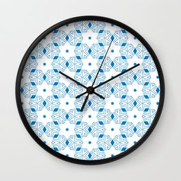 Shibori Stars (blue and white) Wall Clock