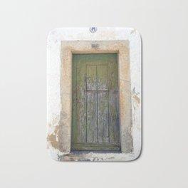 Old Green Door in Tavira, Portugal Bath Mat