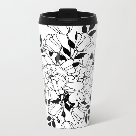 Hand drawn flowers Metal Travel Mug