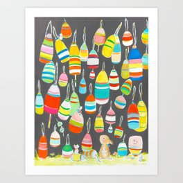 Bunny and buoys Art Print
