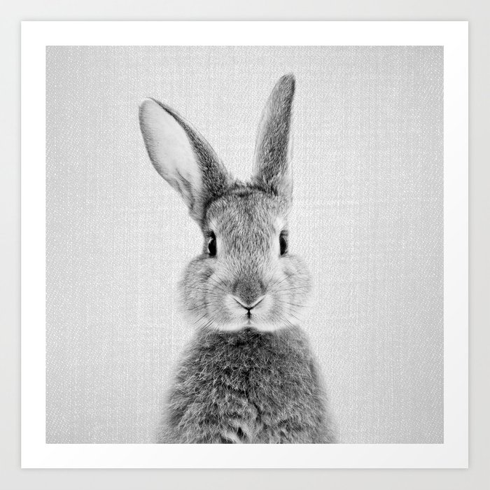 Rabbit - Black & White Art Print