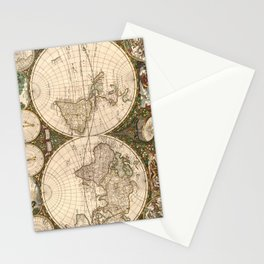 Vintage Map of The World (1660) Stationery Cards