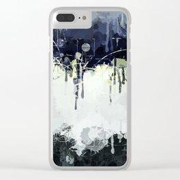 Modern Indigo Eclipse Abstract Design Clear iPhone Case