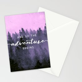 And So The Adventure Begins Pink Forest Stationery Cards