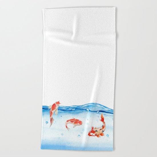 Happy koi fish- fishes sea water lake Beach Towel