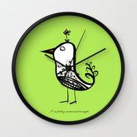 korean Wall Clocks featuring korean alphabet bird by lemonluna